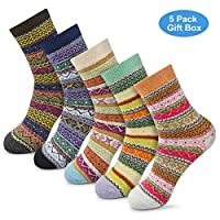 Amazon.com deals on 5packs OKISS Women Winter Socks Novelty Gift Socks