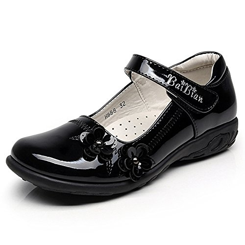 Rismart Children's Girls' Hook&Loop Smart Patent Leather Oxfords Shoes