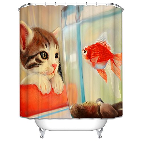 [Monadicase Christmas Shower Drape Width X Height / 72 X 72 Inches / W H 180 By 180 Cm(fabric) Nice Choice For Him,family,husband,girls. Anti Bacterial Cat Fall In Love With Fish Polyester] (Boots Original Beauty Formula)