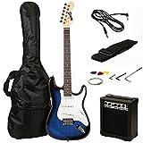 RockJam RJEG02 Electric guitar Starter Kit - Includes Amp, Lessons, Strap, Gig Bag, Picks, Whammy, Lead and Spare Strings. - Blue Burst