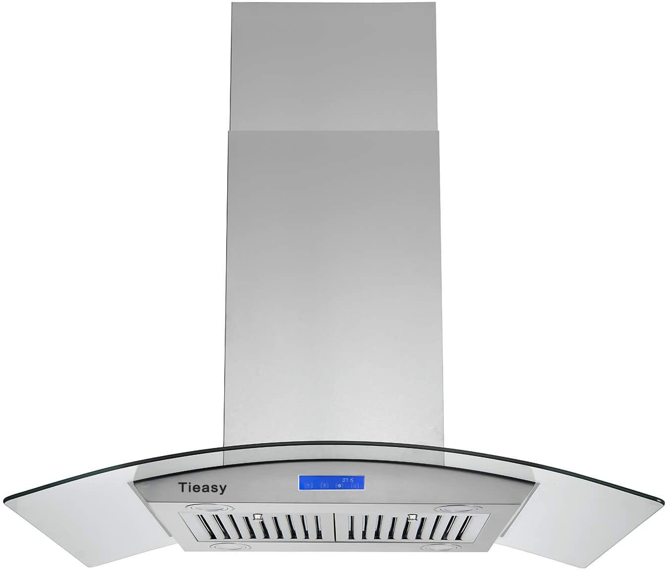 Island Range Hood 36 inch 700 CFM Ceiling Mount Kitchen Stove Hood Ducted with Tempered Glass 4 LED Lights Touch Control 3 Speed Fan Permanent Filters Tieasy