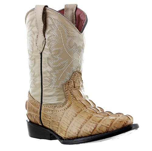 Veretta Boots - Kids Toddler Sand Crocodile Tail Leather Cowboy Boots J Toe 11.5 Toddler
