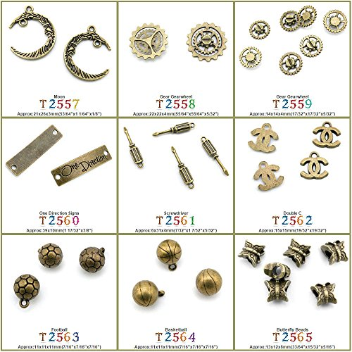 70 PCS Jewelry Making Charms Findings T2564 Basketball Jewellery Bronze Charme Supply Supplies Crafting Bracelet Wholesale Craft Alloys Lots Bulk Necklace Antique Retro DIY - Bronze Basketball