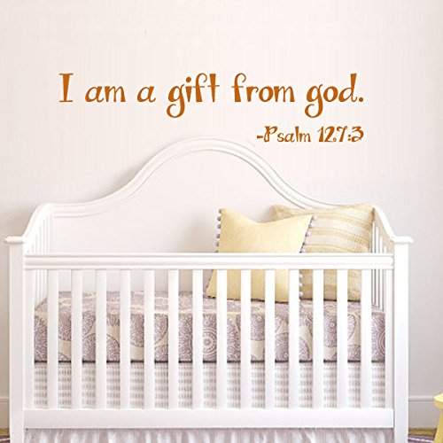 I Am A Gratuity From God¡±- Girl Boy Bedroom Decal Positive Saying Psalm Quote Nursery Headboard Decal Home Art Sticker (Strapping,Black)