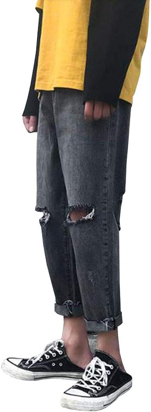 Feellway メンズ ジーンズ ストレートパンツ 春秋 デニムパンツ ダメージ加工 C0433