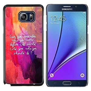 YiPhone /// Prima de resorte delgada de la cubierta del caso de Shell Armor - Cita Art Be Yourself Recuerde Vida Interior Auto - Samsung Galaxy Note 5 5th N9200