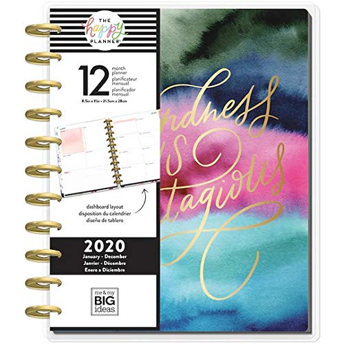 Create 365 Planner The Happy PlannerKindness is Contagious ; 2020 Dated ; 12 Month Planner ; Dashboard Layout ; Large Planner