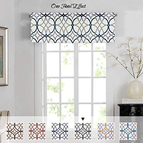 H.VERSAILTEX Energy Saving Curtain Valances for Living Room, Matching with Curtain Panels (Rod Pocket 1 Panel, 52 by 18 Inch, Geo in Grey and Navy) (Grey Valance Kitchen)