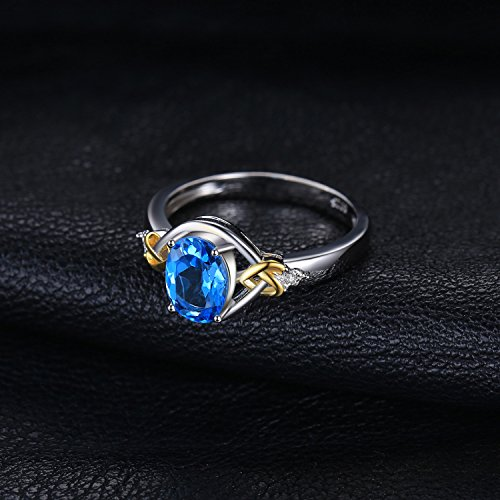 JewelryPalace Love Knot 1.5ct Natural Swiss Blue Topaz Diamond Accented Promise Ring 925 Sterling Silver 18K Yellow Gold Size 7 by JewelryPalace (Image #2)