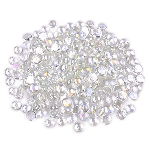 KINGOU Flat Glass Gems/Beads/Stones for Vase Filler, Table Scatter, Games - 1 Lbs (12-14mm, Approx. 1/2