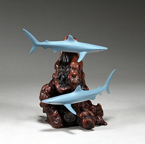 Duo Sculpture (Blue Shark Duo Sculpture by John Perry 6 in long Airbrushed Statue Figurine)
