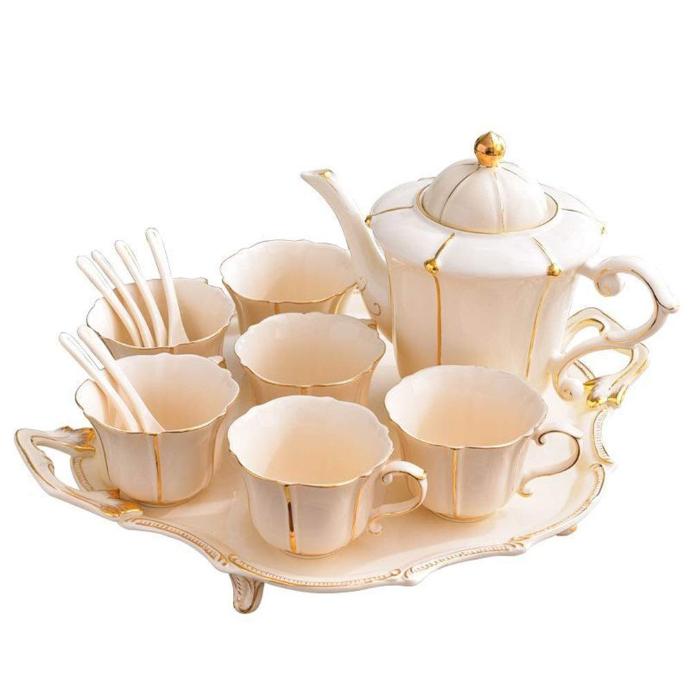 Fragrin ティーセットコーヒーカップセットアフタヌーンティーセラミックカップセットシンプルプノンペントレイ英国のハイエンドコーヒーカップセット 気配りの行き届いたサービス B07S7DKBLG