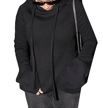 4689fa25f87 Rrive Womens Stylish Solid Long Bell Sleeve Split Drawstring Hoodie  Sweatshirt Black S