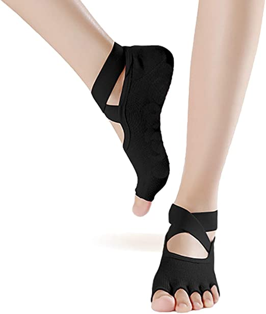 Toeless Non Slip Yoga Socks for Women Cross Belt Sticky Non Skid Grip Socks for Pilates, Barre, Dance, Workout