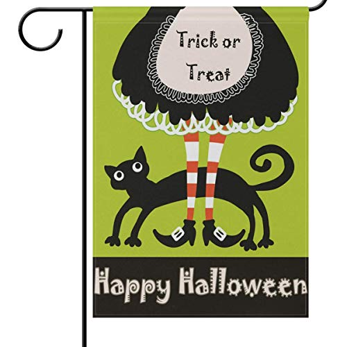 Mesllings Halloween Garden Flag 12 x 18 Double Sided, Retro Witch Legs Feet Funny Black Cat Funny Welcome Autumn Fall Winter Holiday Outdoor Yard House Flags Banner for Party Home Decor