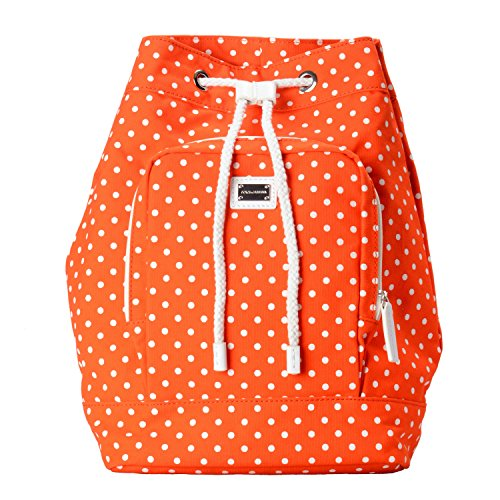 Dolce & Gabbana Orange White Polka Dot Women's Drawstring Backpack Bag by Dolce & Gabbana