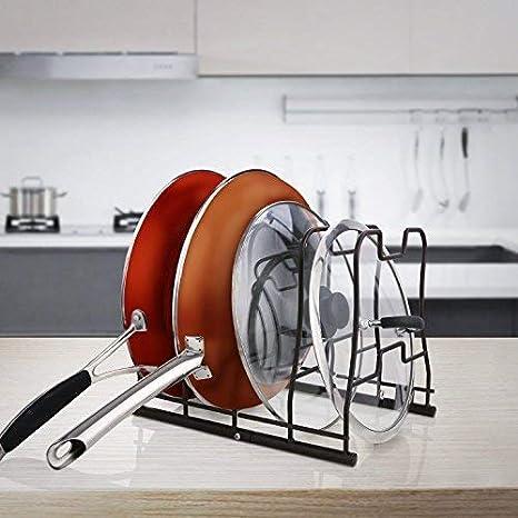 Kealive - Organizador de ollas y sartenes de cocina: 5 sartenes utilizados en horizontal y