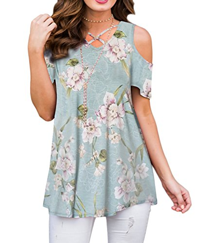 Cold Shoulder Top Floral (ZRMY Women's Cold Shoulder Floral Print Short Sleeve T-Shirts Casual Criss Cross Tunic Tops(Dusty_Blue,S))
