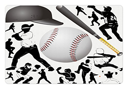 Lunarable Sports Pet Mat for Food and Water, Silhouettes of Players in Different Positions Catcher Pitcher Cap and Bat, Rectangle Non-Slip Rubber Mat for Dogs and Cats, Black White Grey