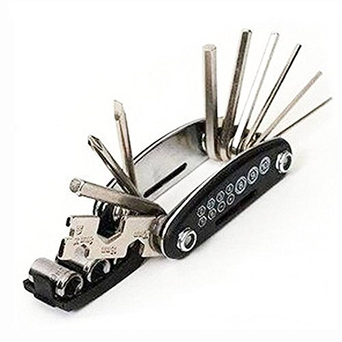 SUPOW(TM) DIY 15 In 1 Syncretic Multifunctional Compact Handheld Folding Foldable Portable Tools/For Durable Regular Maintenance And Emergency Repair Tools/ Cycling Bicycle Bike Motor Car Combination Repair Tools Set Including2mm/2.5mm/3mm/4mm/5mm/6mm Inner Six Angle Wrench; 8mm/9mm/10mm Socket Wrench; A