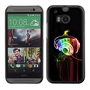 Qstar Arte & diseño plástico duro Fundas Cover Cubre Hard Case Cover para HTC One M8 ( Headphones Colorful Music Art Rainbow Dance)