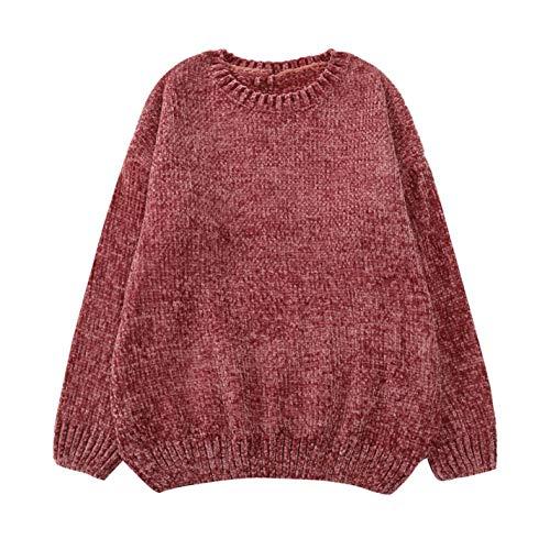 FcbyyESG Women Fashion Gold Velvet Blouse Knit O-Neck Long Sleeve Chenille Sweaters by FcbyyESG