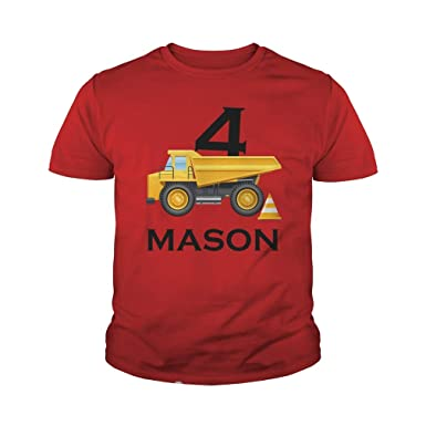 Amazon TeeTina Personalized Construction Dump Truck Birthday Tshirts Gifts Boys
