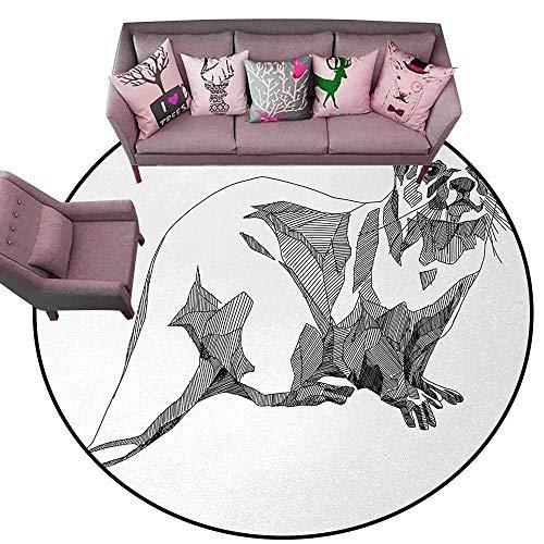 Non-Slip Bath Hotel Mats Black and White,Sketch Otter Monochrome with Line Art Inspirations Animal Illustration,Black White Diameter 54