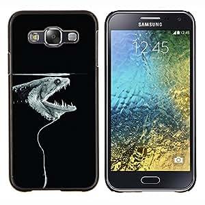 LECELL--Funda protectora / Cubierta / Piel For Samsung Galaxy E5 E500 -- anguila pez eléctrico minimalista monstruo negro --