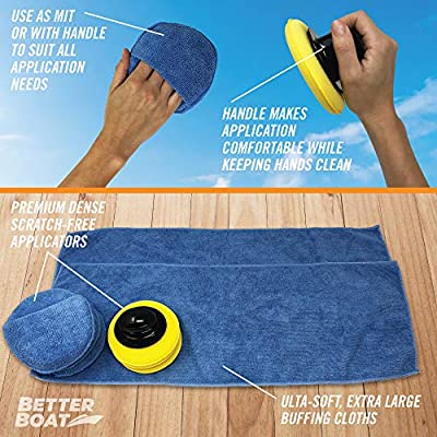 Better Boat Microfiber Wax Applicator Pad Foam Applicator Pads Sponges Cloth and Handle Waxing Set Detailing Polishing for Boats Cars and More: Automotive