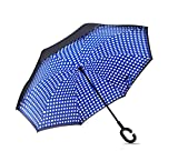 Aweoods Double Layer Inverted Umbrella Cars Reversible Umbrella (Blue round dot)