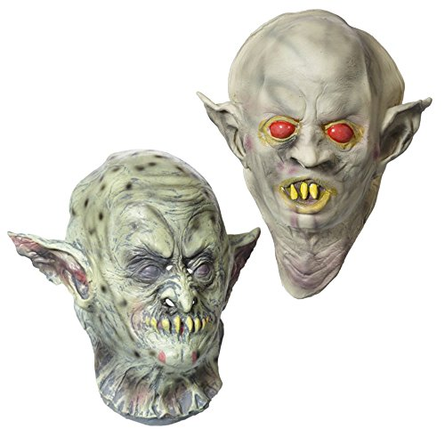 Mask For Halloween - Realistic Scary Goblin Ork Mask - 2 Pack - Natural (Ork Costumes)