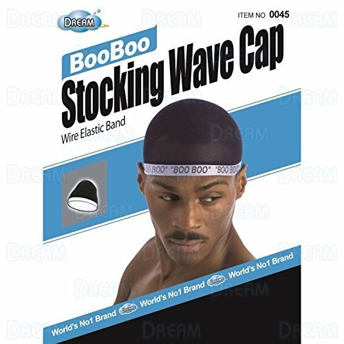 (Dream, Boo Boo STOCKING WAVE CAP, Wire Eastic Band (Item #045 Black) 3 pack)