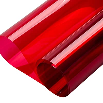 "HOHOFILM 35.4""x78.7"" Transparent Colorful Window Film Glass Decoration Stickers Glass Door Tint Self-Adhesive Sun Blocking Glass Film(Rose red): Home & Kitchen"