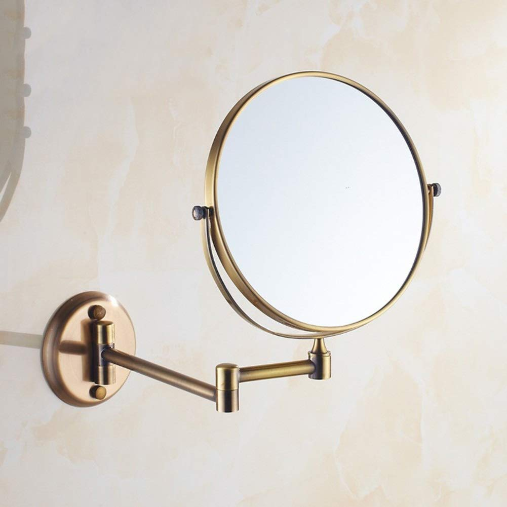KELE Bathroom Mirror Makeup Vanity Mirror, Antique Copper Extendable Shower Mirror Wall Hanging Mirror Folding Mirro Shave Mirror Double Sided Mirror