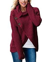 Yayu Womens Knit Wrap Cardigan Cowl Neck Chunky Cable Sweater Pullover Sweater Button