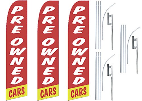 3 Swooper Flutter Feather Flags plus 3 Poles /& Ground Spikes PREOWNED CARS Red White Yellow
