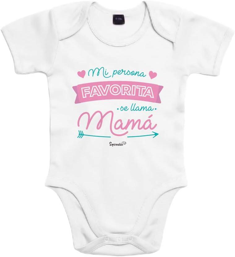 SUPERMOLON Body bebé algodón Mi persona favorita se llama Mamá 3 meses Blanco Manga corta