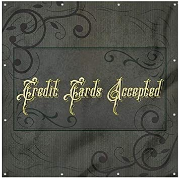 CGSignLab 6x6 Credit Cards Accepted Victorian Frame Heavy-Duty Outdoor Vinyl Banner