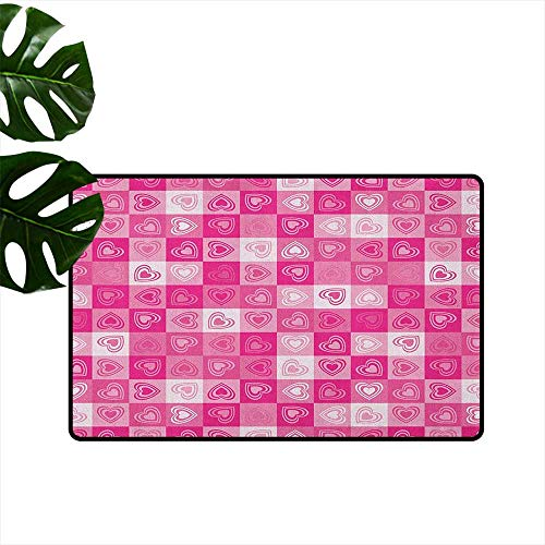 Anzhutwelve Love,Machine Washable Carpet Checkered Pattern in Pink Tones with Heart Shapes Lovely Cheerful Celebration Ornament 36