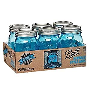 Ball Jar Heritage Collection Pint Jars with Lids and Bands, Blue, Set of 6