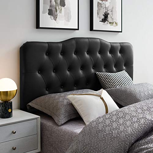 Modway Annabel Tufted Button Faux Leather Upholstered Queen Headboard in Black