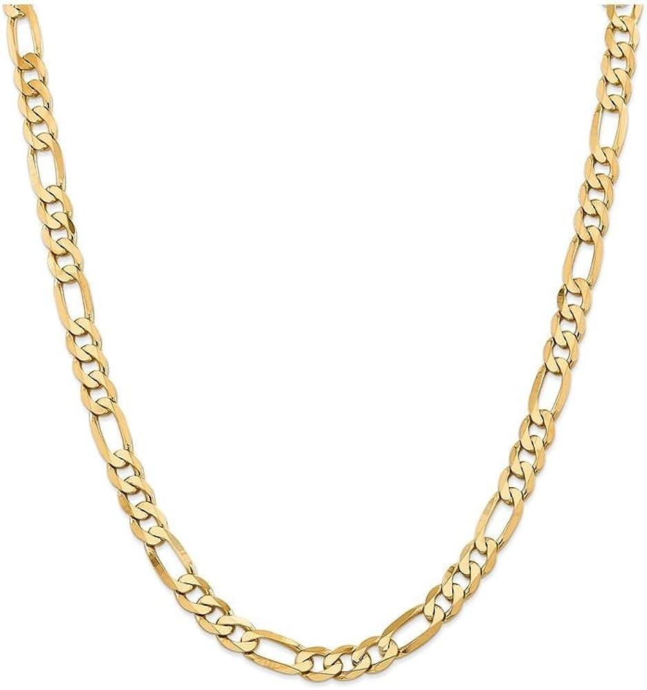 14k White Gold Flat Figaro Chain Ankle Bracelet