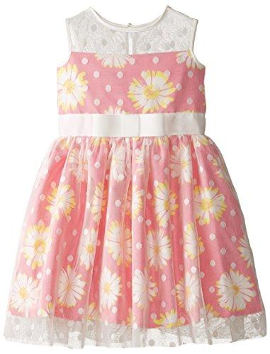 Us Angels Little Girls' Printed Daisy Shantung Dress with Mesh Dot Overlay