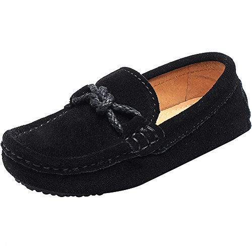 Shenn Children's Boy's Slip On School-Uniform Knot Suede Leather Loafers Shoes/Flats 8221K(Black,us2) (Campus Shoe Leather 2)