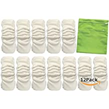 Vlokup Baby Waterproof Cloth Diaper Inserts 5 Layer with Gussets for Newborn Toddler Kids, Nature Bamboo Cotton Nappy Liner for Pocket Diaper, Reusable Washable Absorbent with Wet Bag (Pack of 12)