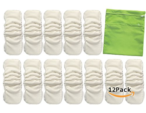 Vlokup Baby Waterproof Cloth Diaper Inserts 5 Layer with Gussets for Newborn Toddler Kids, Nature Bamboo Cotton Nappy Liner for Pocket Diaper, Reusable Washable Absorbent with Wet Bag (Pack of 12) ()
