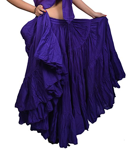Wevez Women's Gypsy 25 Yard Solid Color Cotton Skirt, One Size, Violet -
