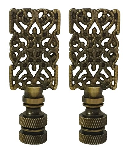 Royal Designs Rectangle Center Cross Filigree Lamp Finial for Lamp Shade- Antique Brass Set of 2