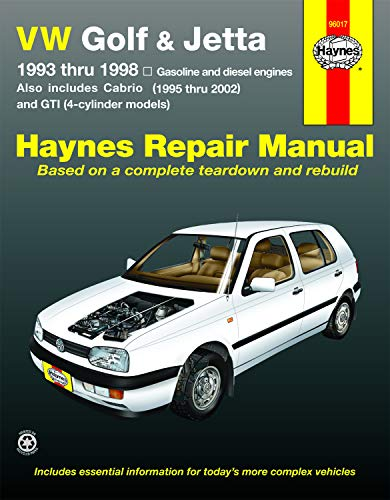 VW Golf, GTI & Jetta (93-98),Cabrio (95-02), with 1.8L & 2.0L Gas Engines & 1.9L Diesel Engine Haynes Repair Manual (Does not include 2.8L VR6 engine.) (Vw Jetta Vr6)